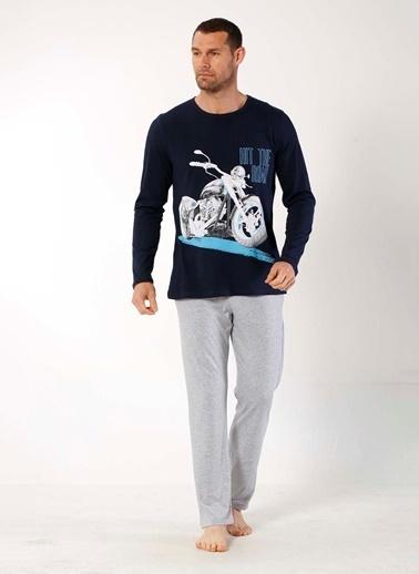 Mia Misenza Pamuklu Likralı Pijama Takım Lacivert